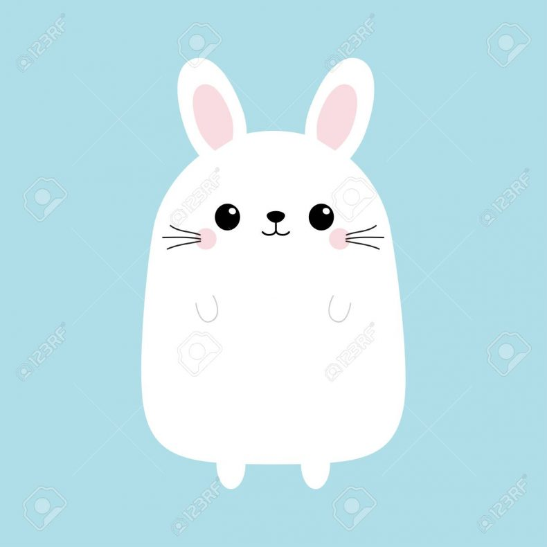 White bunny rabbit. Funny head face. Cute kawaii cartoon character. Baby greeting card template. Happy Easter sign symbol. Blue background. Flat design.