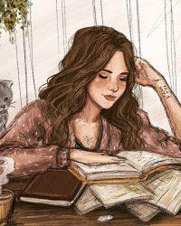 Con gái đọc sách, con gái viết sách và con gái đi vào sách